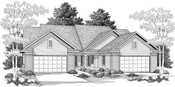 Traditional Multi-Family Plan 73474 with 6 Beds, 6 Baths, 4 Car Garage Elevation