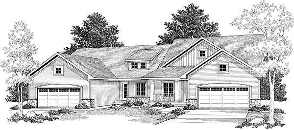 Traditional Multi-Family Plan 73478 with 4 Beds, 4 Baths, 4 Car Garage Elevation