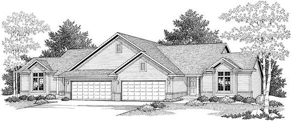 Ranch Multi-Family Plan 73479 with 4 Beds, 4 Baths, 4 Car Garage Elevation