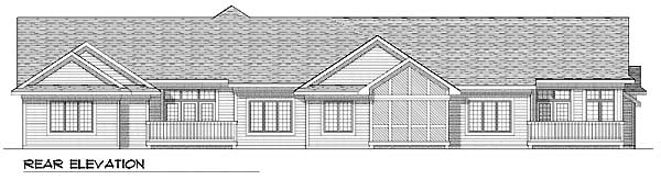Ranch Multi-Family Plan 73483 with 5 Beds, 3 Baths, 6 Car Garage Rear Elevation