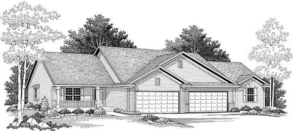 Ranch Multi-Family Plan 73487 with 4 Beds, 4 Baths, 4 Car Garage Elevation