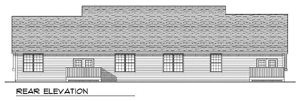 Ranch Multi-Family Plan 73487 with 4 Beds, 4 Baths, 4 Car Garage Rear Elevation