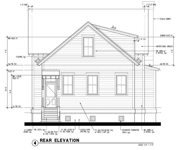 Historic, Southern House Plan 73733 with 4 Beds, 4 Baths Rear Elevation