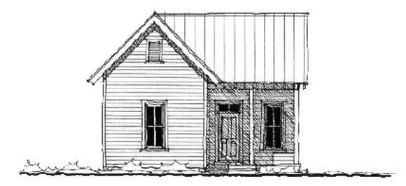 Cabin, Country, Farmhouse, Historic House Plan 73799 with 2 Beds, 1 Baths Elevation