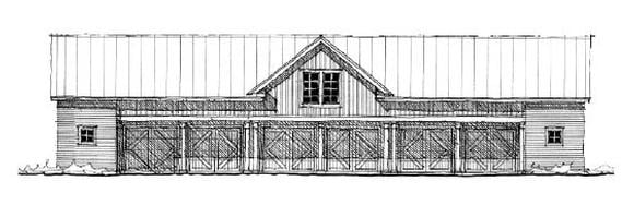 Historic 6 Car Garage Apartment Plan 73820 with 2 Beds, 2 Baths Elevation