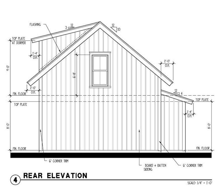 Historic 2 Car Garage Plan 73822 Rear Elevation