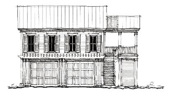 Colonial, Historic, Traditional 2 Car Garage Apartment Plan 73827 with 2 Beds, 1 Baths Elevation