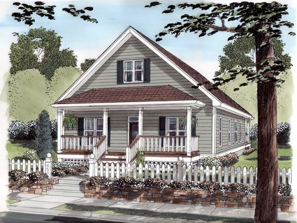 Bungalow, Cottage, Country, Traditional House Plan 74001 with 3 Beds, 2 Baths, 2 Car Garage Picture 1