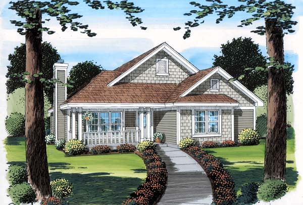 Bungalow, Craftsman, Ranch House Plan 74009 with 3 Beds, 2 Baths, 2 Car Garage Elevation