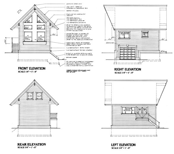 Cabin, Narrow Lot House Plan 74014 with 1 Beds, 1 Baths, 1 Car Garage Rear Elevation