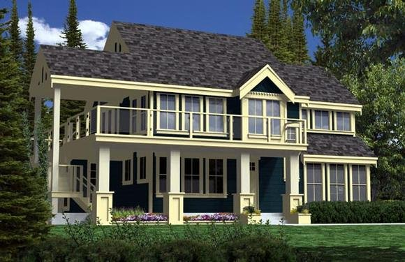 Contemporary, Craftsman, Traditional House Plan 74016 with 2 Beds, 2 Baths Elevation