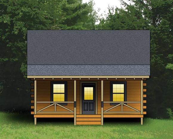 Log, Narrow Lot House Plan 74102 with 2 Beds, 1 Baths Elevation