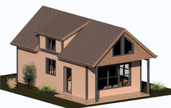 Cabin House Plan 74300 with 1 Beds, 1 Baths Elevation