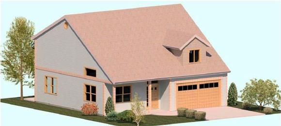 Cape Cod, Coastal, Country, Traditional House Plan 74323 with 3 Beds, 3 Baths, 2 Car Garage Elevation