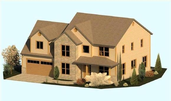 Colonial, Country, Farmhouse, Traditional House Plan 74344 with 3 Beds, 3 Baths, 2 Car Garage Elevation