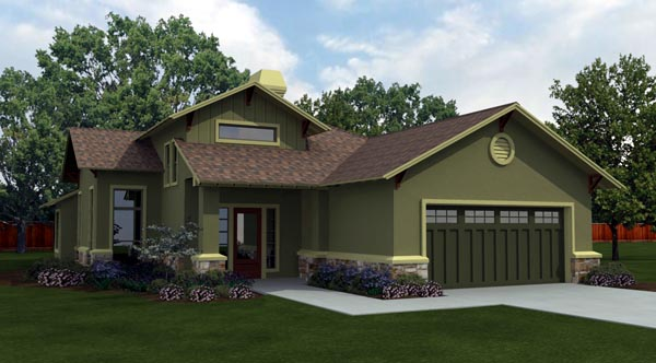Cottage, Country, Craftsman House Plan 74504 with 3 Beds, 2 Baths, 2 Car Garage Elevation
