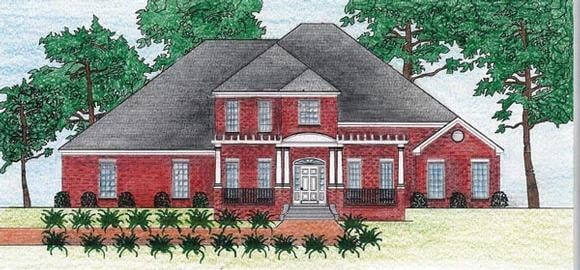 European House Plan 74629 with 4 Beds, 3 Baths, 2 Car Garage Elevation
