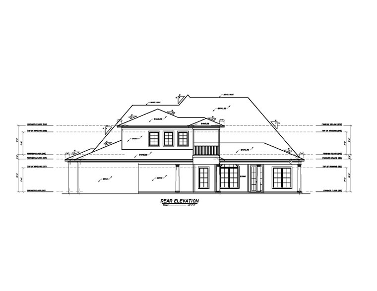 European House Plan 74630 with 3 Beds, 4 Baths, 3 Car Garage Rear Elevation