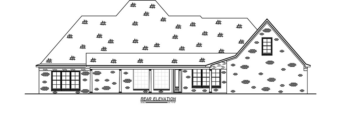 French Country, Traditional House Plan 74663 with 3 Beds, 4 Baths, 3 Car Garage Rear Elevation