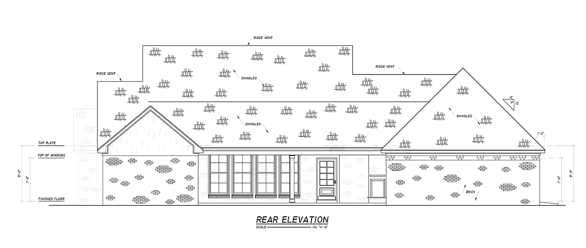 Country, Farmhouse, Traditional House Plan 74669 with 4 Beds, 3 Baths, 2 Car Garage Rear Elevation