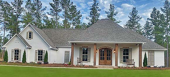 Country, Farmhouse, Traditional House Plan 74670 with 4 Beds, 3 Baths, 2 Car Garage Elevation