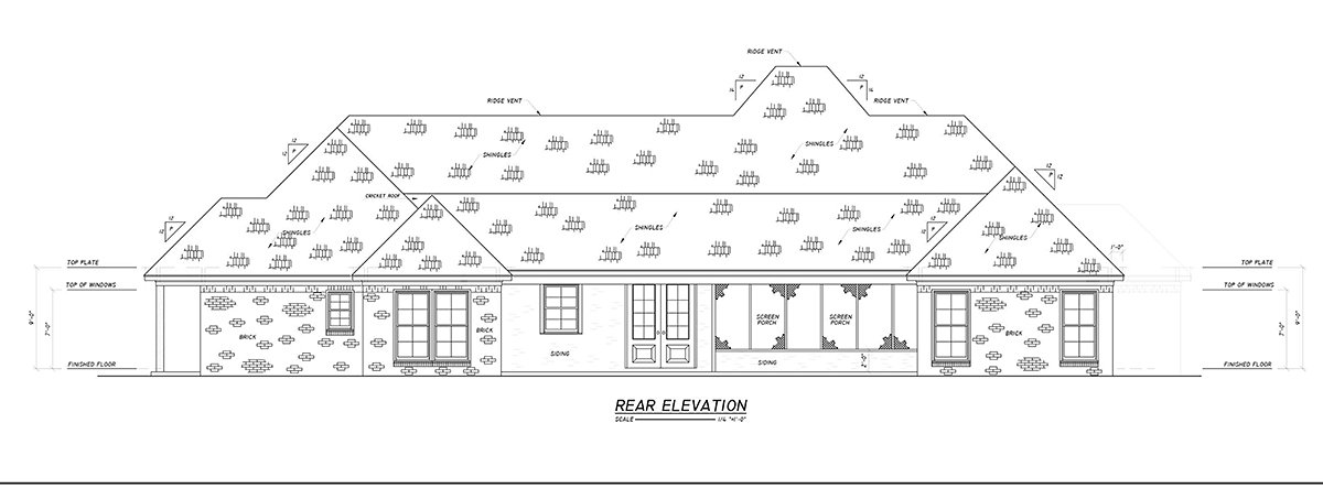 Country, Farmhouse, Traditional House Plan 74670 with 4 Beds, 3 Baths, 2 Car Garage Rear Elevation