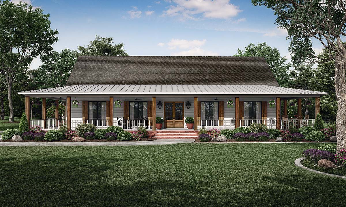 Country, Farmhouse, Traditional House Plan 74671 with 3 Beds, 2 Baths, 2 Car Garage Elevation