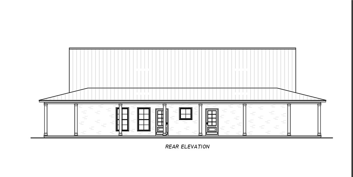 Country, Farmhouse, Traditional House Plan 74680 with 3 Beds, 2 Baths Rear Elevation