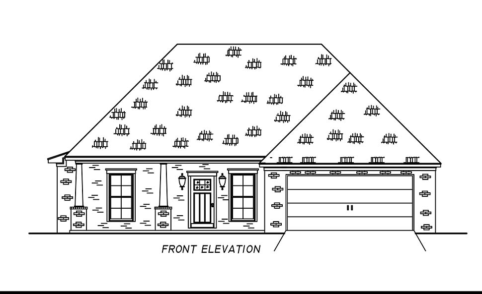 French Country, Traditional House Plan 74681 with 4 Beds, 2 Baths, 2 Car Garage Picture 3