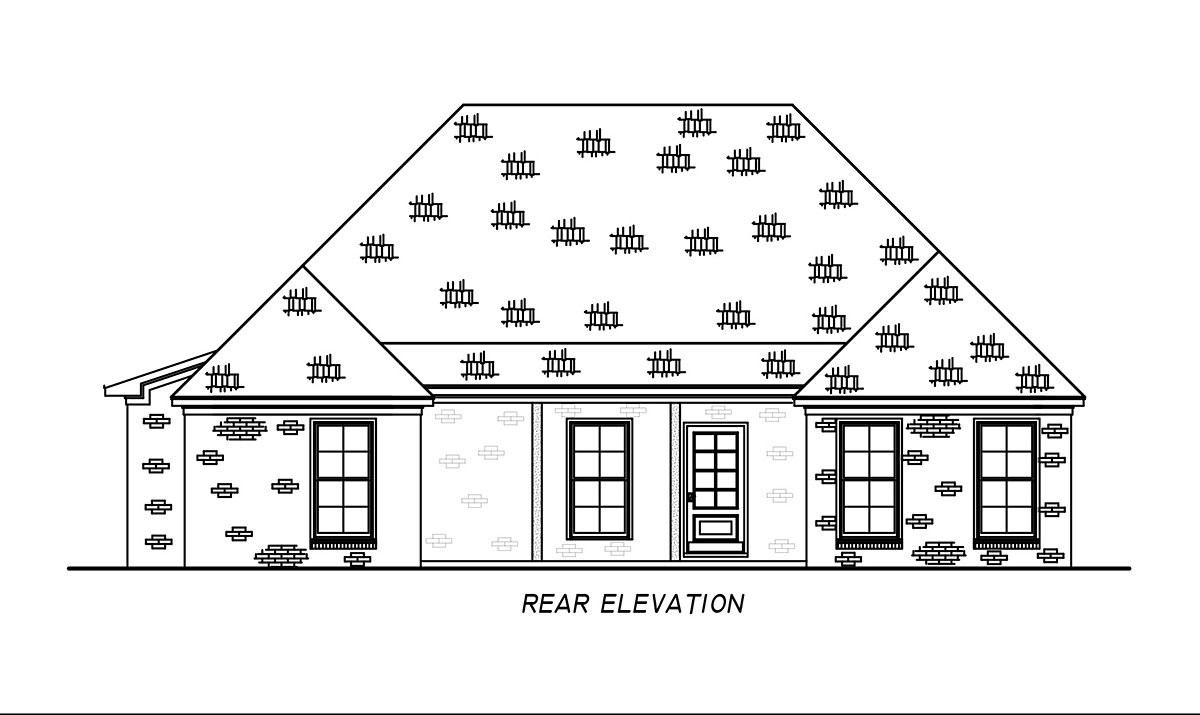 French Country, Traditional House Plan 74681 with 4 Beds, 2 Baths, 2 Car Garage Rear Elevation