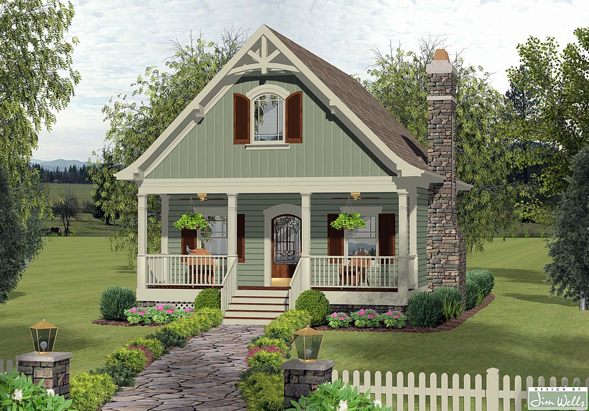 Cottage, Craftsman, Narrow Lot House Plan 74868 with 1 Beds, 2 Baths Elevation