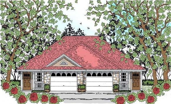 Country, Traditional Multi-Family Plan 75049 with 2 Beds, 2 Baths, 2 Car Garage Elevation