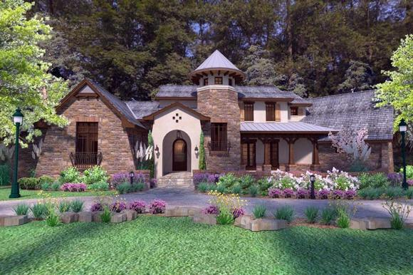 Craftsman, Tuscan House Plan 75132 with 3 Beds, 4 Baths, 2 Car Garage Elevation