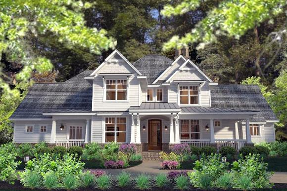 Country, Farmhouse, Southern, Traditional, Victorian House Plan 75133 with 3 Beds, 3 Baths, 3 Car Garage Elevation