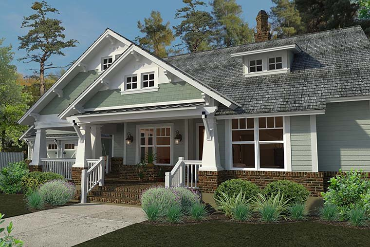 Bungalow, Cottage, Craftsman House Plan 75137 with 3 Beds, 2 Baths, 2 Car Garage Picture 3