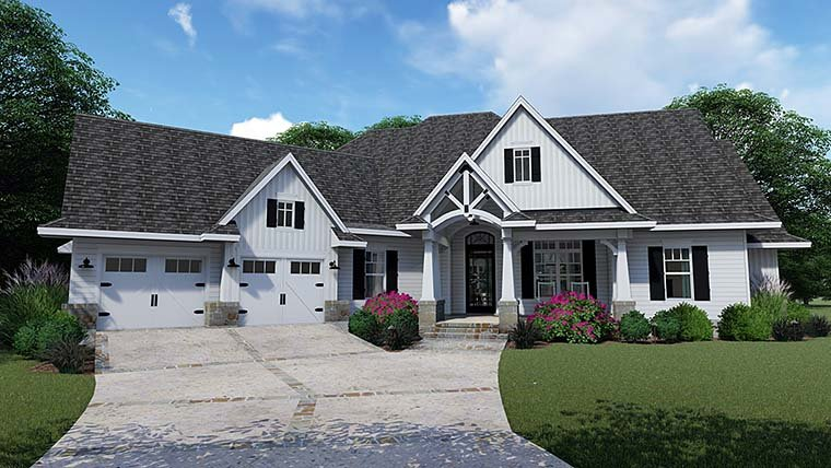 Cottage, Country, Farmhouse, Southern, Traditional House Plan 75152 with 3 Beds, 4 Baths, 2 Car Garage Elevation