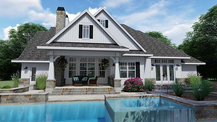 Cottage, Country, Farmhouse, Southern, Traditional House Plan 75152 with 3 Beds, 4 Baths, 2 Car Garage Rear Elevation