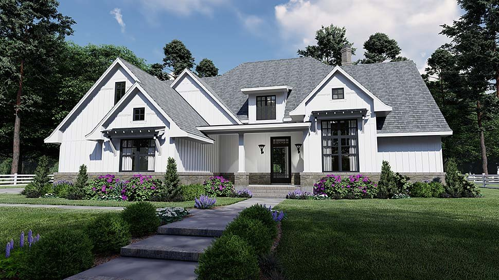 Country, Farmhouse, Southern House Plan 75156 with 4 Beds, 4 Baths, 2 Car Garage Elevation