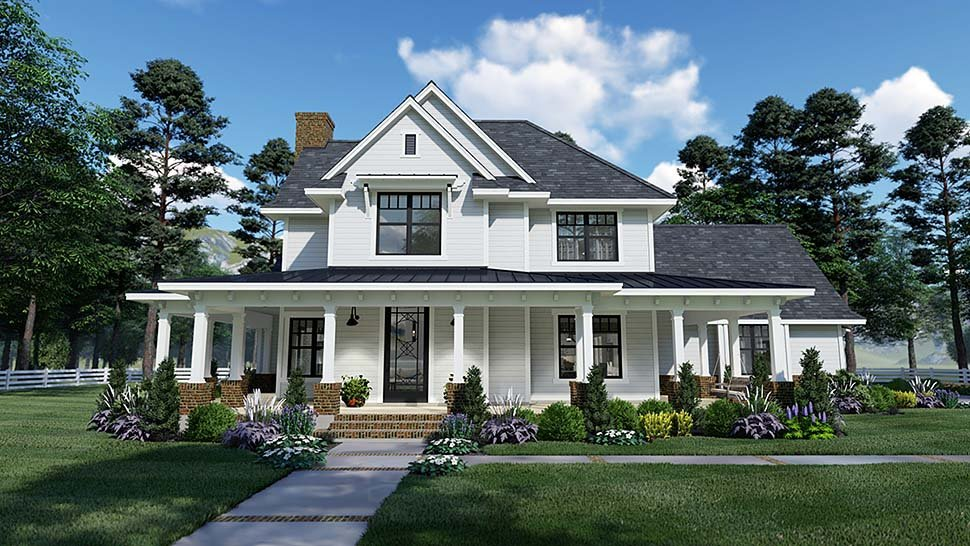 Country, Farmhouse, Southern House Plan 75158 with 3 Beds, 3 Baths, 2 Car Garage Elevation
