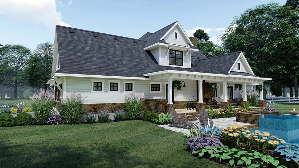 Country, Farmhouse, Southern House Plan 75158 with 3 Beds, 3 Baths, 2 Car Garage Picture 4