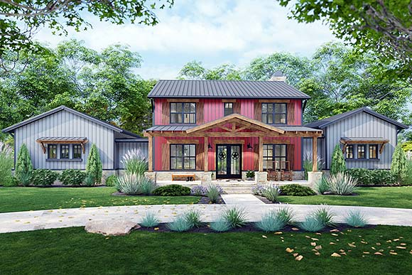Country, Farmhouse House Plan 75172 with 3 Beds, 3 Baths, 3 Car Garage Elevation