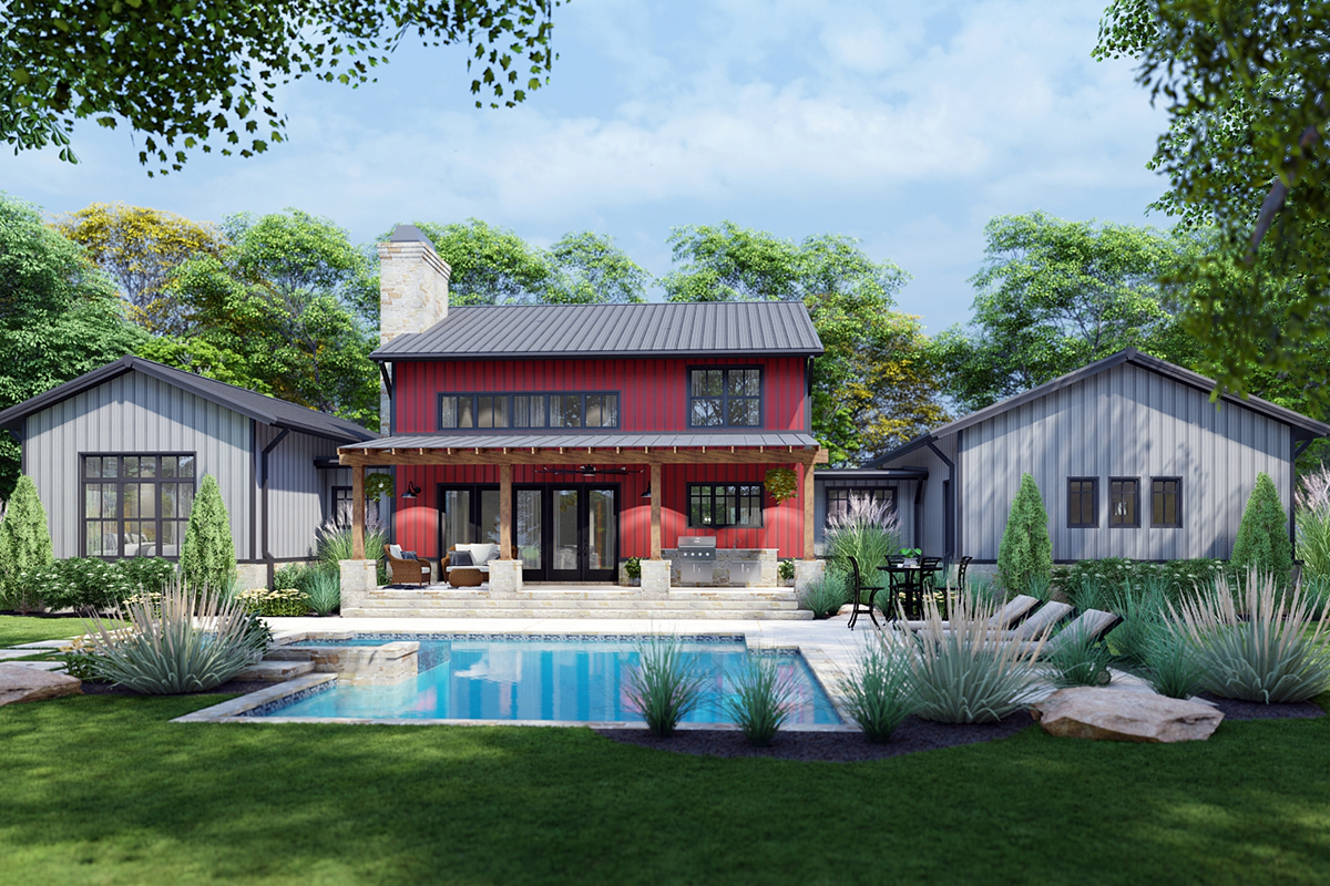 Country, Farmhouse House Plan 75172 with 3 Beds, 3 Baths, 3 Car Garage Rear Elevation
