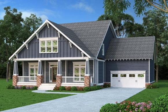 Bungalow, Country, Craftsman, Southern House Plan 75313 with 4 Beds, 3 Baths, 2 Car Garage Elevation
