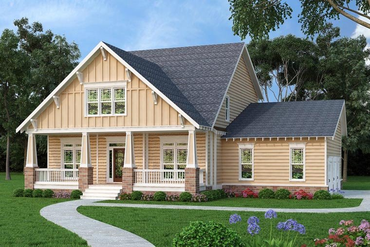Bungalow, Country, Craftsman House Plan 75315 with 4 Beds, 3 Baths, 3 Car Garage Elevation
