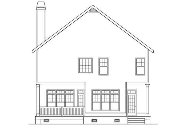 Coastal, Craftsman, Southern House Plan 75316 with 3 Beds, 3 Baths Rear Elevation