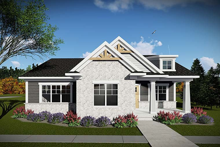 Cottage, Country, Craftsman House Plan 75430 with 2 Beds, 2 Baths, 2 Car Garage Elevation