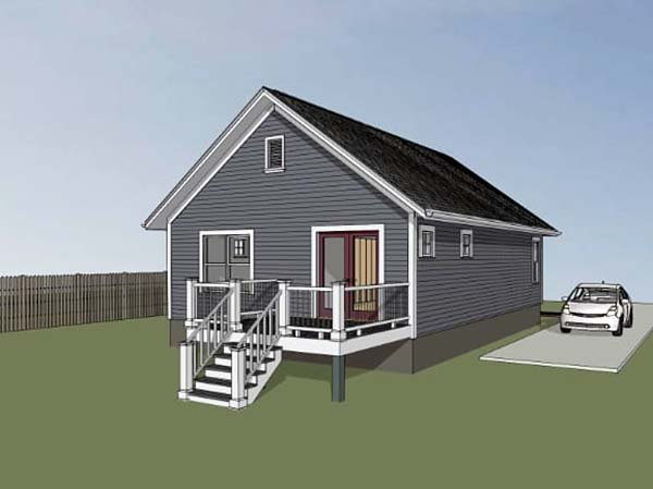 Bungalow House Plan 75517 with 2 Beds, 1 Baths Rear Elevation