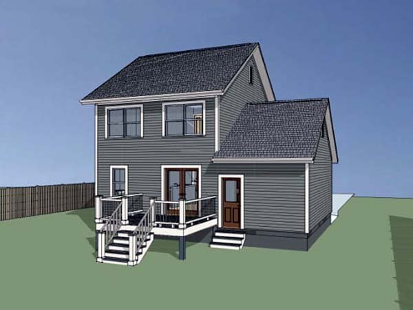 Colonial, Country, Southern House Plan 75520 with 3 Beds, 3 Baths, 1 Car Garage Rear Elevation