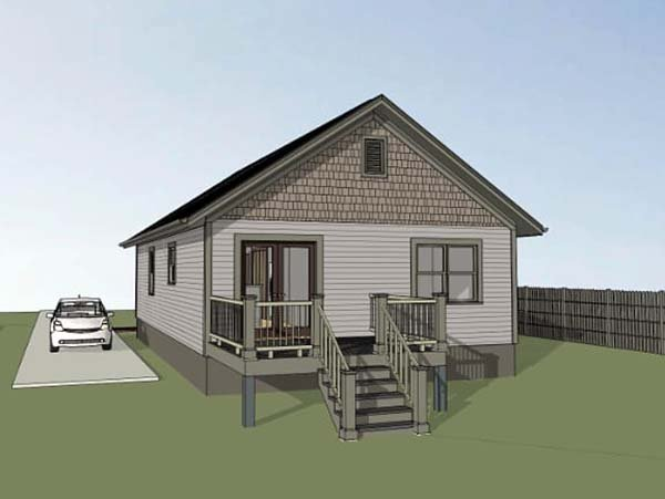 Bungalow House Plan 75522 with 3 Beds, 2 Baths Rear Elevation
