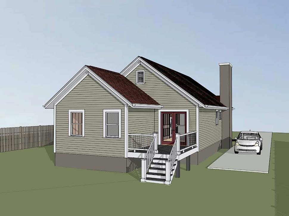 Bungalow House Plan 75527 with 4 Beds, 2 Baths Rear Elevation